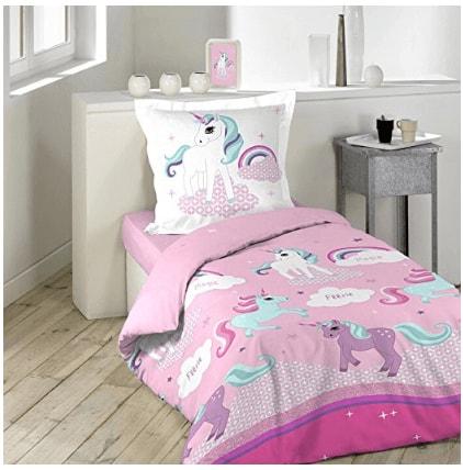 ma petite licorne des r ves parure de lit licorne une personne rose et multicolore la. Black Bedroom Furniture Sets. Home Design Ideas