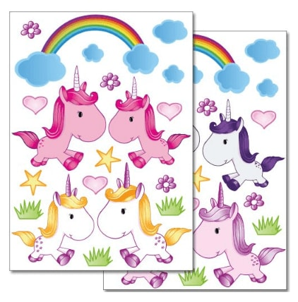 38 stickers muraux licorne arc en ciel petites fleurs et toiles multicolore la licorne. Black Bedroom Furniture Sets. Home Design Ideas