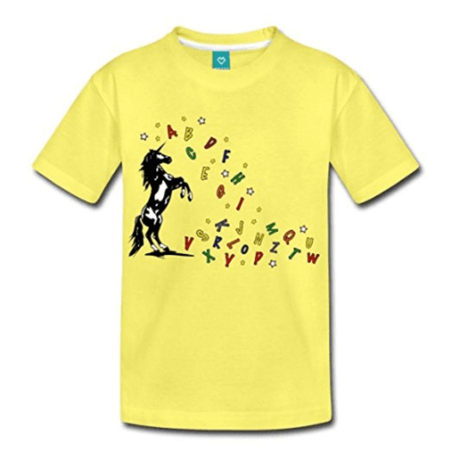 de a z licorne alphabet licorne cabr e t shirt enfant jaune la licorne. Black Bedroom Furniture Sets. Home Design Ideas