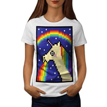 Pixel Art Licorne Vomissant Un Arc En Ciel Licorne Trash T Shirt Femme Blanc
