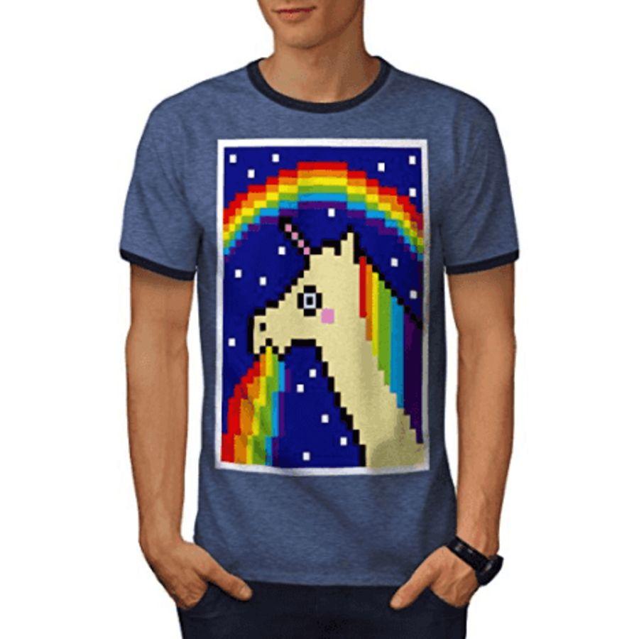 Pixel Art Licorne Vomissant Un Arc En Ciel Licorne Trash T Shirt Homme Bleu