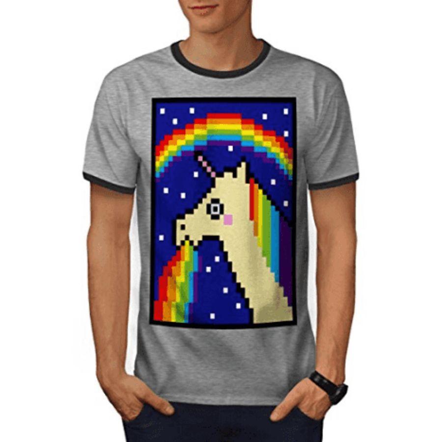 Pixel Art Licorne Vomissant Un Arc En Ciel Licorne Trash T Shirt Homme Gris